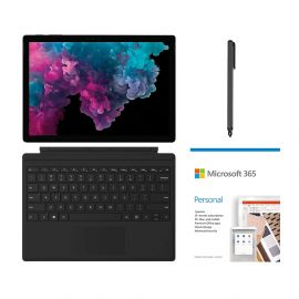 """Microsoft Surface Pro 6 12.3"""" (2736 x 1824) TouchScreen 2 in 1 Tablet, Intel Core i7, 8GB RAM, 256GB SSD, Win 10 w/Microsoft 365 Personal, Type Cover, Mytrix Digital Pen - Black"""