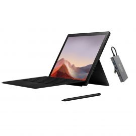 "Microsoft Surface Pro 7 2 in 1 12.3"" (2736 x 1824) TouchScreen Tablet Black, Intel Core i5, 8GB RAM, 256GB SSD, Webcam, Win 10 w/Type Cover, Surface Pen, USB-C Hub - Black"