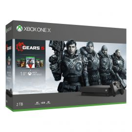 Microsoft Xbox One X 2TB SSD Gears Complete Bundle with Wireless Controller and Xbox Game Pass Live Gold Trial - Native 4K HDR - Enhanced with Solid State Drive - Black