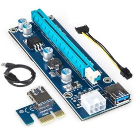 Mytrix PCI-E Riser 1x to 16x Graphics Extension GPU Powered Riser Adapter Card 4 Solid Capacitors, 60cm USB 3.0 Cable 6 pin SATA for Mining Crypto Coin ETH Ethereum Zcash ZEC Bitcoin Rig