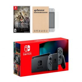 New Nintendo Switch Gray Joy-Con Improved Battery Life Console Bundle with Octopath Traveler NS Game Disc and Mytrix NS Tempered Glass Screen Protector - 2019 New Game!