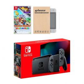 New Nintendo Switch Gray Joy-Con Improved Battery Life Console Bundle with Paper Mario: The Origami King NS Game Disc and Mytrix NS Tempered Glass Screen Protector - 2020 Best Game!