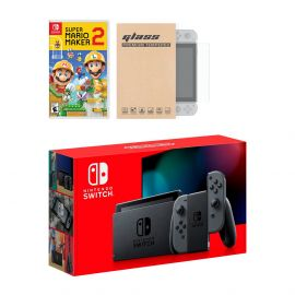 New Nintendo Switch Gray Joy-Con Improved Battery Life Console Bundle with Super Mario Maker 2 NS Game Disc and Mytrix NS Tempered Glass Screen Protector - 2019 New Game!