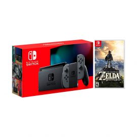 New Nintendo Switch Gray Joy-Con Improved Battery Life Console Bundle with The Legend of Zelda: Breath of the Wild Game Disc and Mytrix NS Tempered Glass Screen Protector - 2019 Best Game!