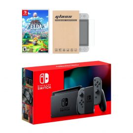 New Nintendo Switch Gray Joy-Con Improved Battery Life Console Bundle with The Legend of Zelda: Link's Awakening NS Game Disc and Mytrix NS Tempered Glass Screen Protector - 2019 New Game!