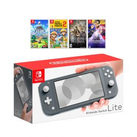 New Nintendo Switch Lite Gray Console Bundle with 4 Games: The Legend of Zelda Link's Awakening, Super Mario Maker 2, Octopath Traveler, and Fire Emblem: Three Houses!
