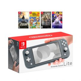 New Nintendo Switch Lite Gray Console Bundle with 4 Games: The Legend of Zelda: Breath of the Wild, Super Mario Maker 2, Octopath Traveler, and Fire Emblem: Three Houses!