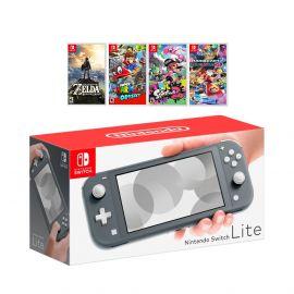 New Nintendo Switch Lite Gray Console Bundle with 4 Games: The Legend of Zelda: Breath of the Wild, Super Mario Odyssey, Splatoon 2, and Super Mario Kart 8!