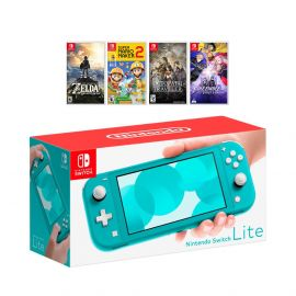 New Nintendo Switch Lite Turquoise Console Bundle with 4 Games: The Legend of Zelda: Breath of the Wild, Super Mario Maker 2, Octopath Traveler, and Fire Emblem: Three Houses!