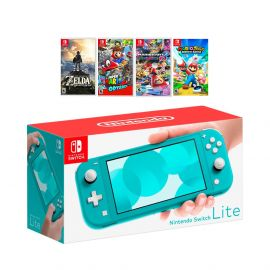 New Nintendo Switch Lite Turquoise Console Bundle with 4 Games: The Legend of Zelda: Breath of the Wild, Super Mario Odyssey, Super Mario Kart 8, and Mario + Rabbids Kingdom Battle!