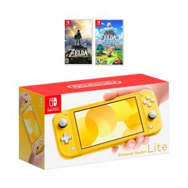 New Nintendo Switch Lite Yellow Console Bundle with 2 Games: The Legend of Zelda: Breath of the Wild, and The Legend of Zelda Link's Awakening. 2019 Latest Console and Games!