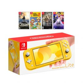 New Nintendo Switch Lite Yellow Console Bundle with 4 Games: The Legend of Zelda: Breath of the Wild, Super Mario Maker 2, Octopath Traveler, and Fire Emblem: Three Houses!