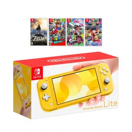 New Nintendo Switch Lite Yellow Console Bundle with 4 Games: The Legend of Zelda: Breath of the Wild, Super Mario Odyssey, Splatoon 2, and Super Mario Kart 8!