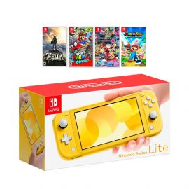 New Nintendo Switch Lite Yellow Console Bundle with 4 Games: The Legend of Zelda: Breath of the Wild, Super Mario Odyssey, Super Mario Kart 8, and Mario + Rabbids Kingdom Battle!