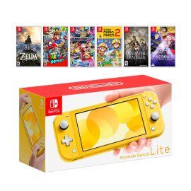 New Nintendo Switch Lite Yellow Console Bundle with 6 Games: Zelda, Super Mario Odyssey, Mario Kart 8, Super Mario Maker 2, Octopath Traveler, and Fire Emblem: Three Houses!