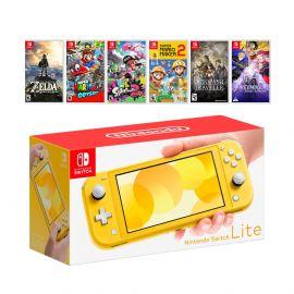New Nintendo Switch Lite Yellow Console Bundle with 6 Games: Zelda, Super Mario Odyssey, Splatoon 2, Super Mario Maker 2, Octopath Traveler, and Fire Emblem: Three Houses!