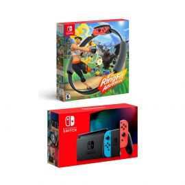 New Nintendo Switch Red/Blue Joy-Con Console Bundle with Ring Fit Adventure Set: Game, Ring-Con and Leg Strap - Best Fitness Game!