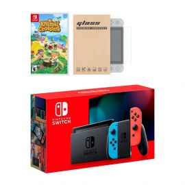 New Nintendo Switch Red/Blue Joy-Con Improved Battery Life Console Bundle with Animal Crossing: New Horizons NS Game Disc and Mytrix NS Tempered Glass Screen Protector - 2020 Best Game!