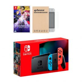 New Nintendo Switch Red/Blue Joy-Con Improved Battery Life Console Bundle with Fire Emblem: Three Houses NS Game Disc and Mytrix NS Tempered Glass Screen Protector - 2019 New Game!