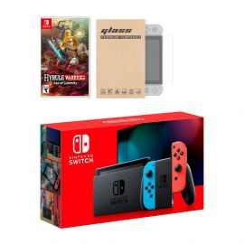 New Nintendo Switch Red/Blue Joy-Con Improved Battery Life Console Bundle with Hyrule Warriors: Age of Calamity NS Game Disc and Mytrix NS Tempered Glass Screen Protector - 2020 New Game!