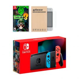 New Nintendo Switch Red/Blue Joy-Con Improved Battery Life Console Bundle with Luigi's Mansion 3 NS Game Disc and Mytrix NS Tempered Glass Screen Protector - 2019 New Game!