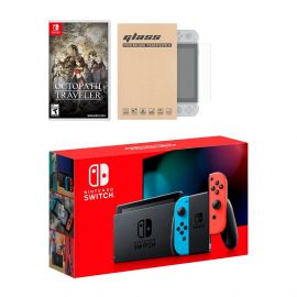 New Nintendo Switch Red/Blue Joy-Con Improved Battery Life Console Bundle with Octopath Traveler NS Game Disc and Mytrix NS Tempered Glass Screen Protector - 2019 New Game!