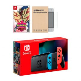 New Nintendo Switch Red/Blue Joy-Con Improved Battery Life Console Bundle with Pokemon Shield NS Game Disc and Mytrix NS Tempered Glass Screen Protector - 2019 New Game!