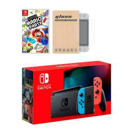 New Nintendo Switch Red/Blue Joy-Con Improved Battery Life Console Bundle with Super Mario Party NS Game Disc and Mytrix NS Tempered Glass Screen Protector - 2019 Best Game!