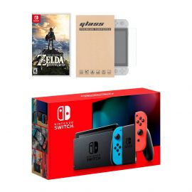 New Nintendo Switch Red/Blue Joy-Con Improved Battery Life Console Bundle with The Legend of Zelda: Breath of the Wild Game Disc and Mytrix NS Tempered Glass Screen Protector - 2019 Best Game!