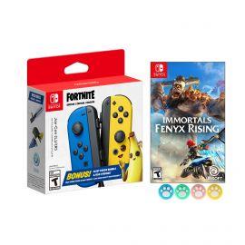 Nintendo Joy-Con (L/R) Fortnite Fleet Force Bundle: Blue/Yellow JoyCon, In-Game 500 V-Bucks & Glider & Electri-claw Pickaxe, with Immortals Fenyx Rising Game and Mytrix Joystick Caps