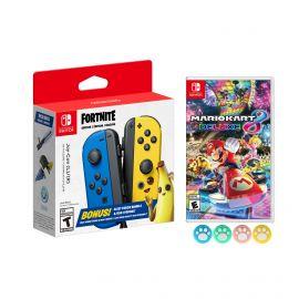 Nintendo Joy-Con (L/R) Fortnite Fleet Force Bundle: Blue/Yellow JoyCon, In-Game 500 V-Bucks & Glider & Electri-claw Pickaxe, with Mario Kart 8 Game and Mytrix Joystick Caps
