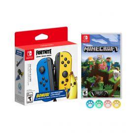 Nintendo Joy-Con (L/R) Fortnite Fleet Force Bundle: Blue/Yellow JoyCon, In-Game 500 V-Bucks & Glider & Electri-claw Pickaxe, with Minecraft Game and Mytrix Joystick Caps
