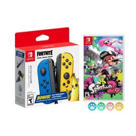 Nintendo Joy-Con (L/R) Fortnite Fleet Force Bundle: Blue/Yellow JoyCon, In-Game 500 V-Bucks & Glider & Electri-claw Pickaxe, with Splatoon 2 Game and Mytrix Joystick Caps