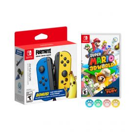 Nintendo Joy-Con (L/R) Fortnite Fleet Force Bundle: Blue/Yellow JoyCon, In-Game 500 V-Bucks & Glider & Electri-claw Pickaxe, with Super Mario 3D World + Bowser's Fury Game and Mytrix Joystick Caps
