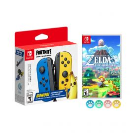 Nintendo Joy-Con (L/R) Fortnite Fleet Force Bundle: Blue/Yellow JoyCon, In-Game 500 V-Bucks & Glider & Electri-claw Pickaxe, with The Legend of Zelda: Link's Awakening Game and Mytrix Joystick Caps