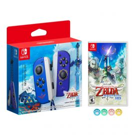 Nintendo Joy-Con (L/R) The Legend of Zelda: Skyward Sword HD Limited Edition Wireless Controller with The Legend of Zelda: Skyward Sword HD Game Bundle and Mytrix Joystick Caps Set of 4 for your Joy Cons