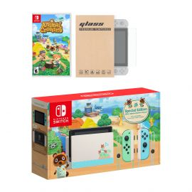 Nintendo Switch Animal Crossing Limited Console Animal Crossing: New Horizons Bundle, with Mytrix Tempered Glass Screen Protector - Improved Battery Life Console with the 2020 Best NS Game