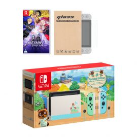 Nintendo Switch Animal Crossing Limited Console Fire Emblem: Three Houses Bundle, with Mytrix Tempered Glass Screen Protector - Improved Battery Life Console with the Best Tactical Role-Playing Game