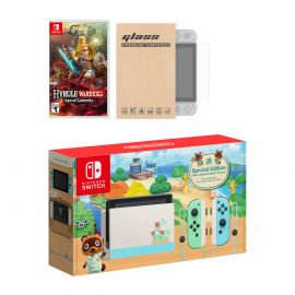Nintendo Switch Animal Crossing Limited Console Hyrule Warriors: Age of Calamity Bundle, with Mytrix Tempered Glass Screen Protector - Improved Battery Life Console with 2020 New Game