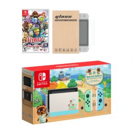Nintendo Switch Animal Crossing Limited Console Hyrule Warriors: Definitive Edition Bundle, with Mytrix Tempered Glass Screen Protector - Improved Battery Life Console with NS Game Disc