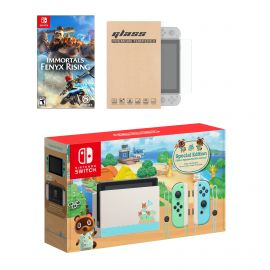 Nintendo Switch Animal Crossing Limited Console Immortals Fenyx Rising Bundle, with Mytrix Tempered Glass Screen Protector - Improved Battery Life Console with 2020 New Game
