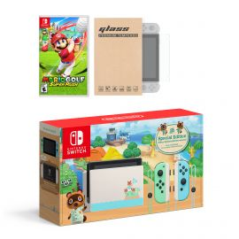 Nintendo Switch Animal Crossing Limited Console Mario Golf: Super Rush Bundle, with Mytrix Tempered Glass Screen Protector - Improved Battery Life Console with 2020 New Game