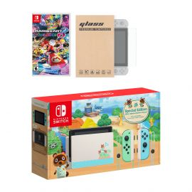 Nintendo Switch Animal Crossing Limited Console Mario Kart 8 Deluxe Bundle, with Mytrix Tempered Glass Screen Protector - Improved Battery Life Console with the Best Mario Kart Game