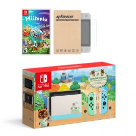Nintendo Switch Animal Crossing Limited Console Miitopia Bundle, with Mytrix Tempered Glass Screen Protector - Improved Battery Life Console with 2020 New Game