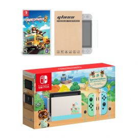 Nintendo Switch Animal Crossing Limited Console Overcooked! 2 Bundle, with Mytrix Tempered Glass Screen Protector - Improved Battery Life Console with the Best Party Game
