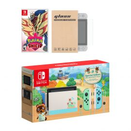 Nintendo Switch Animal Crossing Limited Console Pokemon Shield Bundle, with Mytrix Tempered Glass Screen Protector - Improved Battery Life Console with the Best Pokemon Game
