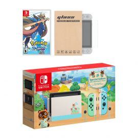 Nintendo Switch Animal Crossing Limited Console Pokemon Sword Bundle, with Mytrix Tempered Glass Screen Protector - Improved Battery Life Console with the Best Pokemon Game