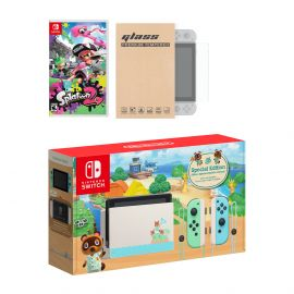 Nintendo Switch Animal Crossing Limited Console Splatoon 2 Bundle, with Mytrix Tempered Glass Screen Protector - Improved Battery Life Console with the Best Shooter Game