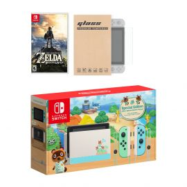Nintendo Switch Animal Crossing Limited Console The Legend of Zelda: Breath of the Wild Bundle, with Mytrix Tempered Glass Screen Protector - Improved Battery Life Console with the Best NS Game