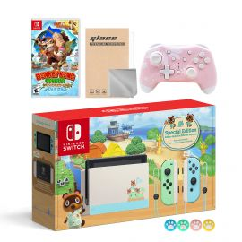 Nintendo Switch Animal Crossing Special Version Console Set, Bundle With Donkey Kong Country And Mytrix Wireless Pro Controller and Accessories
